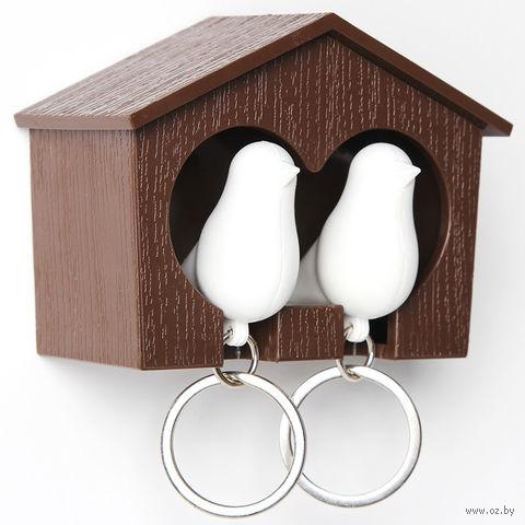 """Брелок-свисток и держатель двойной для ключей """"Sparrow"""" (коричневый/белый)"""