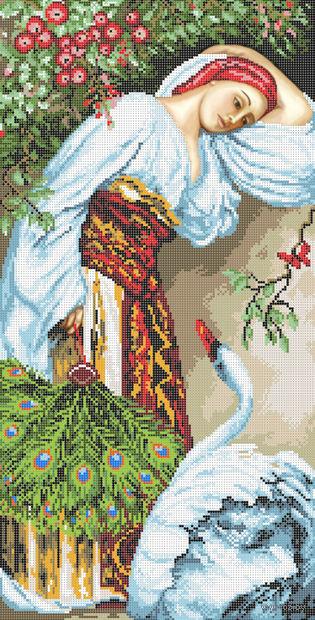 """Вышивка бисером """"Девушка и лебедь"""" (280х550 мм) — фото, картинка"""