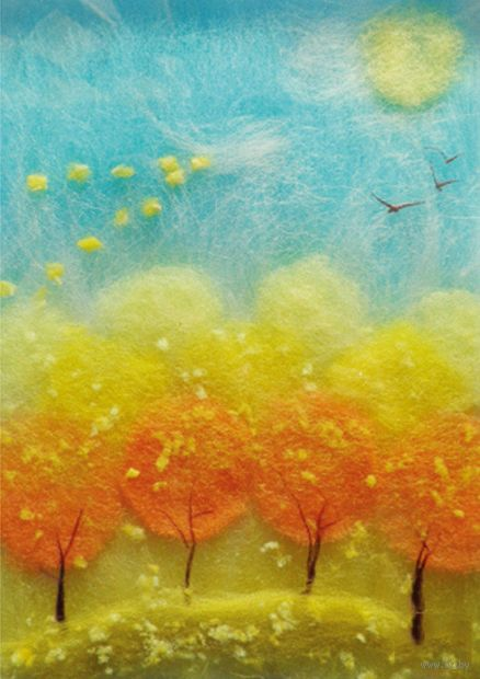 """Картина из шерсти """"Осенний полет"""""""