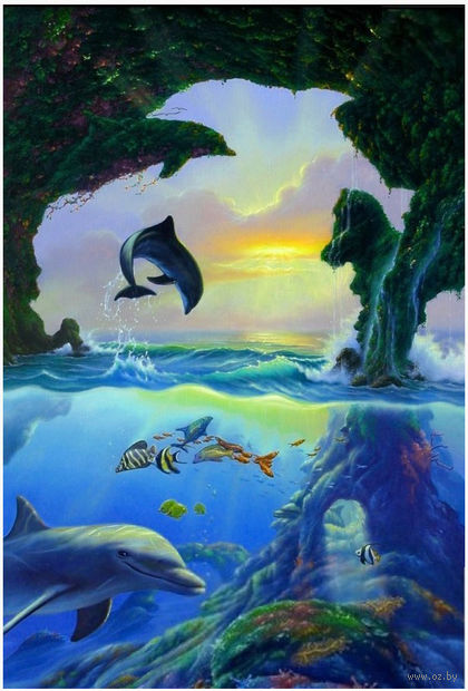 """Алмазная вышивка-мозаика """"Дельфины"""" — фото, картинка"""